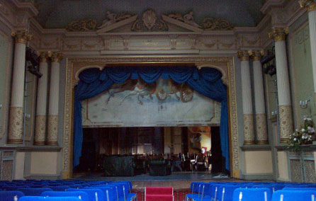 Photograph of the inside of Adelina Patti Theatre, Craig Y Nos Castle © The Theatres Trust Image Library