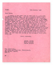 Letter from Orwell to TS Eliot.