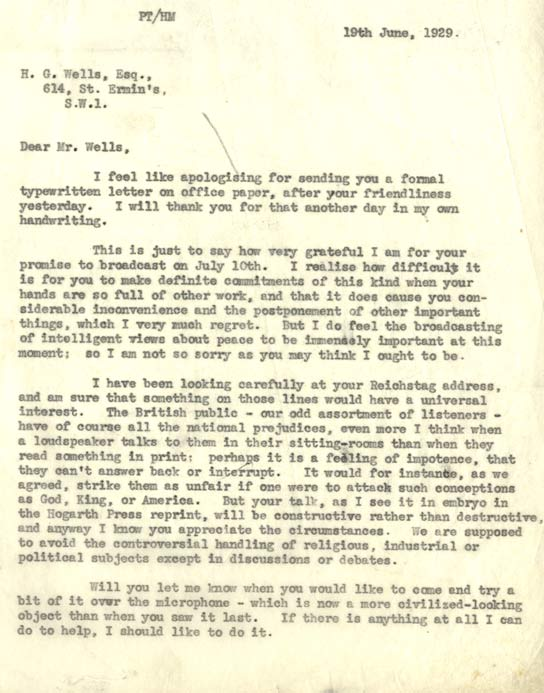 Letter to HG Wells thanking him for his promise to broadcast on the BBC.