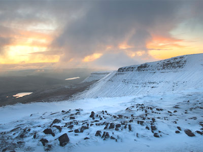 The Brecon Beacons covered in snow by Chris Aylward.