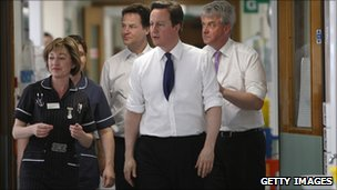 Prime Minister David Cameron and Nick Clegg Speak With NHS Staff In Surrey on 06 April 2011