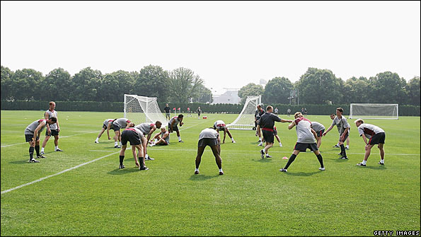 Footballers are put through their paces