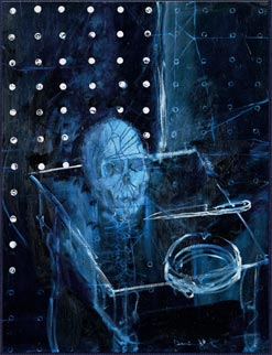 Jean de Dinteville and Georges de Selve ('The Ambassadors') Human Skull in Space, © Damien Hirst 2008; Oil on canvas.