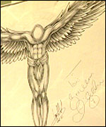 Drawing of an angel autographed by David Beckham