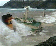 The Braer stranded on the coast in 1993