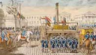Painting of the execution of Louis XVI during the French Revolution