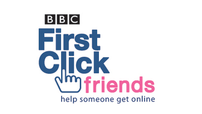 Logo for First Click Friends campaign with the tagline - 'Help someone get online'.