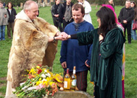 Modern Druids, including Emma Restall Orr of the British Druid Order, in a handfasting ceremony at Avebury stone circle