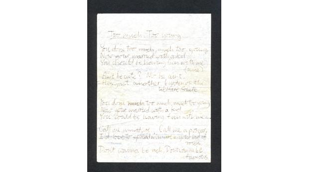 Handwritten lyrics by Jerry Dammers for The Specials' hit song Too Much Too Young.