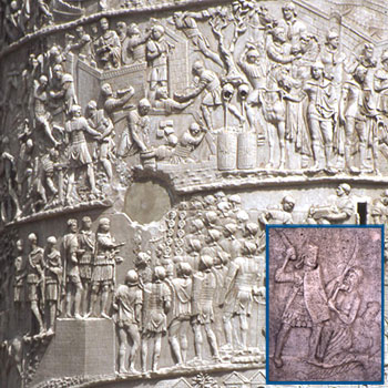 Detail of Trajan's Column with inset of the Tropaeum Traiani