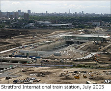An aerial view of the new Stratford International train station, July 2005