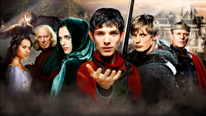 L-R: Gwen (Angel Coulby), Gaius (Richard Wilson), Morgana (Katie McGrath), Merlin (Colin Morgan), Arthur (Bradley James) and Uther (Anthony Head)