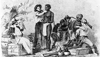 White traders inspect African slaves during a sale, c. 1750