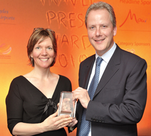 Carolyn Atkinson and Julian Worricker at the Travel Press Awards