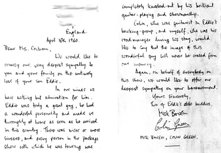 Letter of condolence sent from road manager Mike Bowen and guitarist Colin Green to Eddie Cochran's mother, Alice.