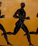 Detail from Pananthenaic amphora depicting a long-distance runner