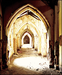 Arches inside Gorton Monastery before restoration