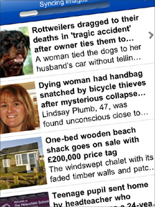 Screenshot of the Daily Mail's iPhone app