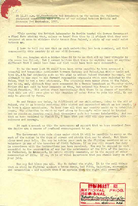 The Transcript of Neville Chamberlain's declaration of war.