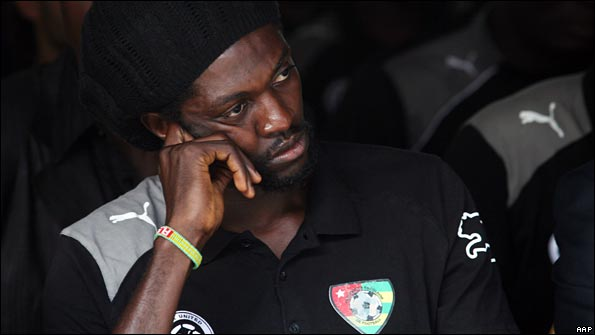 Emmanuel Adebayor in quiet contemplation