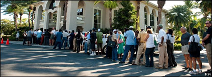People queuing in front of Bank of Antigua