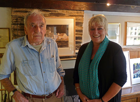 John Knapp-Fisher with Nicola Heywood Thomas at his at his studio in Croesgoch