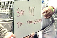 A whiteboard with 'Say hi to the Queen' written on it