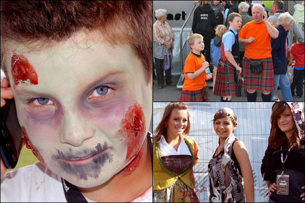 Boy made-up as a zombie, kilts in the crowds, and three girls wearing clothes made in a fashion workshop