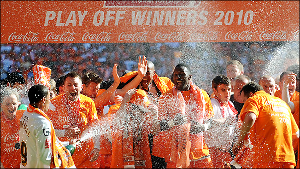 Blackpool celebrate winning the Championship play-off final last season.