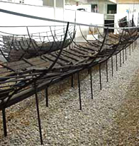 Photo of a Viking ship found at Roskilde