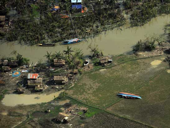 Aerial view of the after effects of Cyclone Nargis
