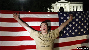 Man celebrates news of Bin Laden's death outside the White House