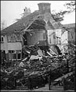 House damaged by a bomb
