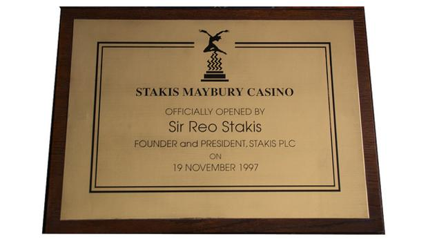 Sir Reo Stakis Casino Plaque