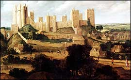 Painting of Pontefract Castle as it looked  in the 17th century before the English Civil war
