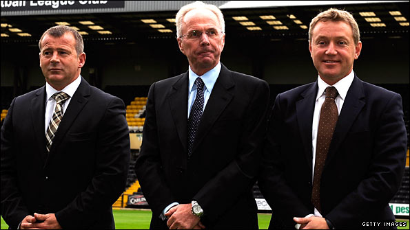 County manager Ian McParland, Sven-Goran Eriksson and Peter Trembling