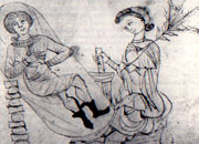 Old manuscript illustration showing a pregnant woman reclining while another holds some pennyroyal in one hand and prepares a concotion using a mortar and pestle with the other