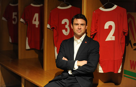 Owen Sheers in the Welsh dressing room at the Millennium Stadium. Photo: Huw Evans Picture Agency