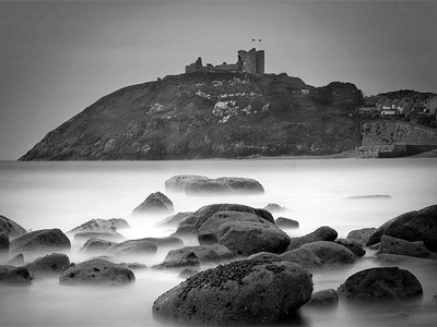 Criccieth castle in black and white by Peter.
