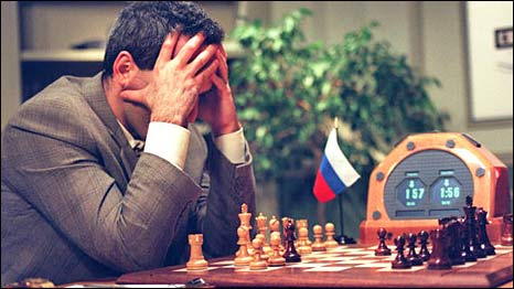 Chess champion Garry Kasparov ponders his moves against the IBM computer Deep Blue