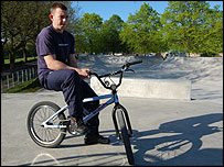 Scott Robyns rides his BMX at the skatepark