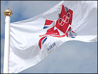 The London 2012 Olympic flag is raised