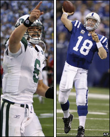 Mark Sanchez and Peyton Manning