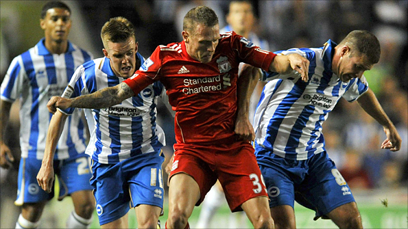 Craig Bellamy,  playing for Liverpool against Brighton in the Carling Cup