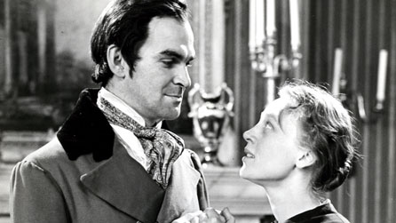 Black and white photograph of Stanley Baker (Mr Rochester) and Daphne Slater (Jane) in the 1956 BBC production of Jane Eyre