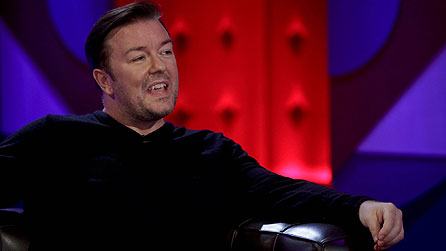 Ricky Gervais on Friday Night With Jonathan Ross (image: BBC/Hot Sauce)
