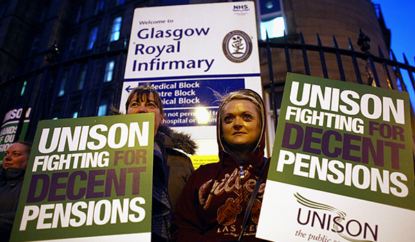 Public sector workers picket outside the Royal Infirmary Hospital on November 30, 2011 in Glasgow, Scotland. More than 2 million public sector workers are staging a nationwide strike over cuts to their public sector pensions. The strike began at midnight leading to the closure of most state schools, disruption to rail and tunnel services, delays at border areas inside airports and ferry terminals and the postponement of thousands of non-emergency hospital operations. The TUC has said it is the biggest stoppage in more than 30 years, with hundreds of marches and rallies due to take place in cities and towns across the UK.