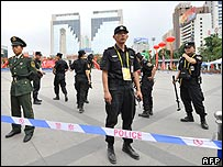 Security forces amid heightened security on People's Square