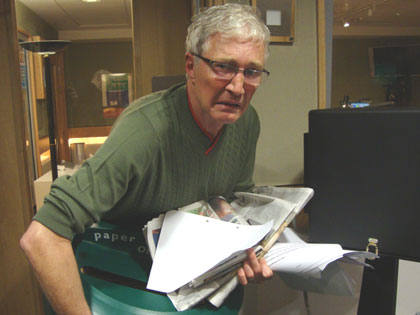 As ever, always eager to help, Paul set about sorting out all the paper left in Studio 6A to be recycled.