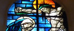 Stained glass window - Jesus on cross